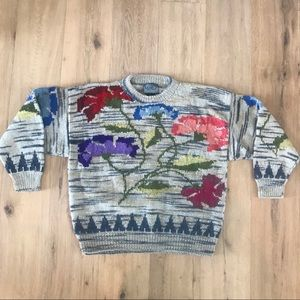 Hand-Knitted Vintage Wool Floral Sweater